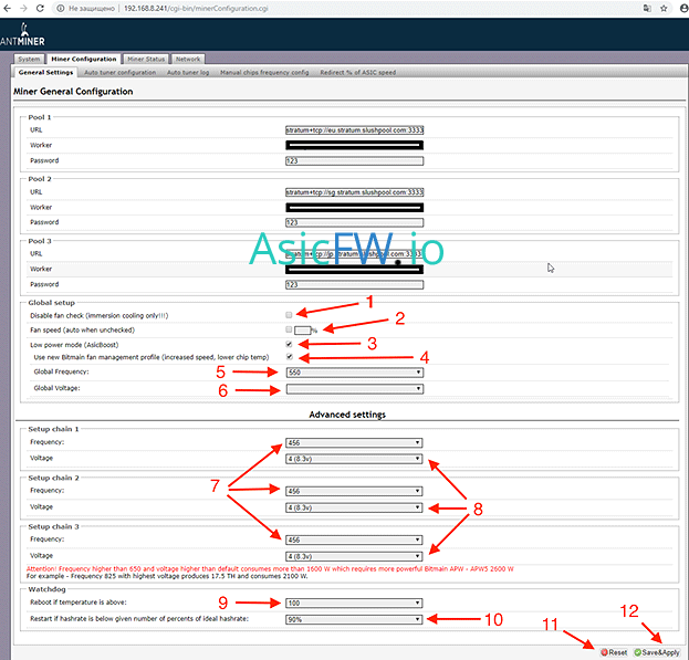 AntMiner s9 s9j s9i alternative firmware manual download